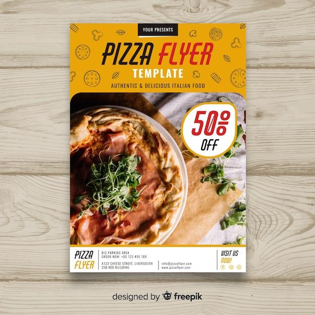 写真のピザのパンフレット 無料ベクター