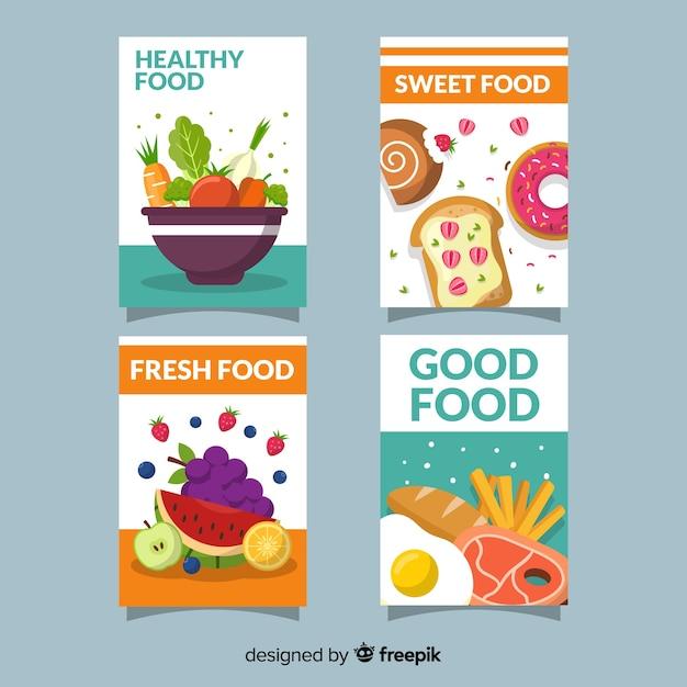 健康食品カードコレクション 無料ベクター