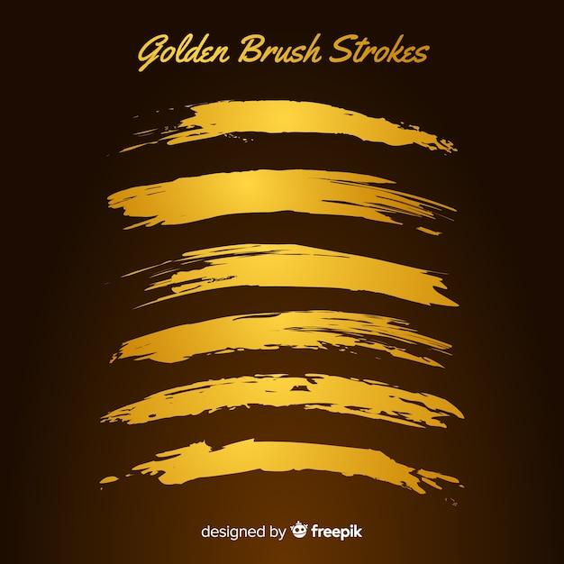 Золотая коллекция мазков кисти Бесплатные векторы