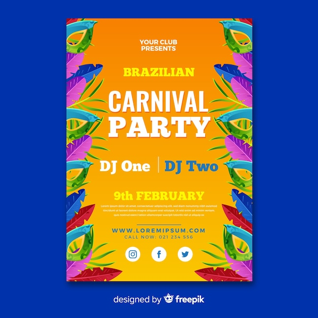 現実的なブラジルのカーニバルパーティーのポスター 無料ベクター