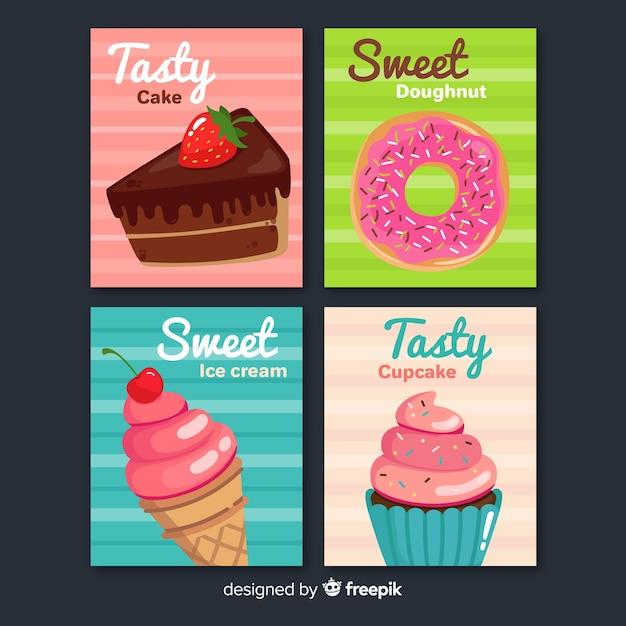 Коллекция сладких блюд Бесплатные векторы