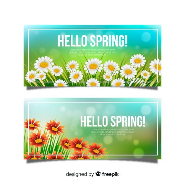 こんにちは春のバナー 無料ベクター
