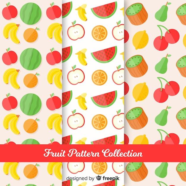 フラットフルーツパターンコレクション 無料ベクター