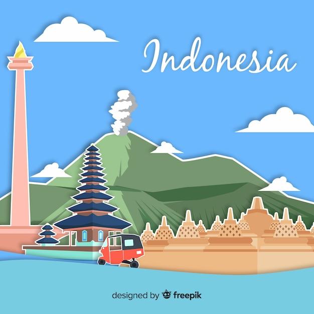 インドネシアの背景 無料ベクター