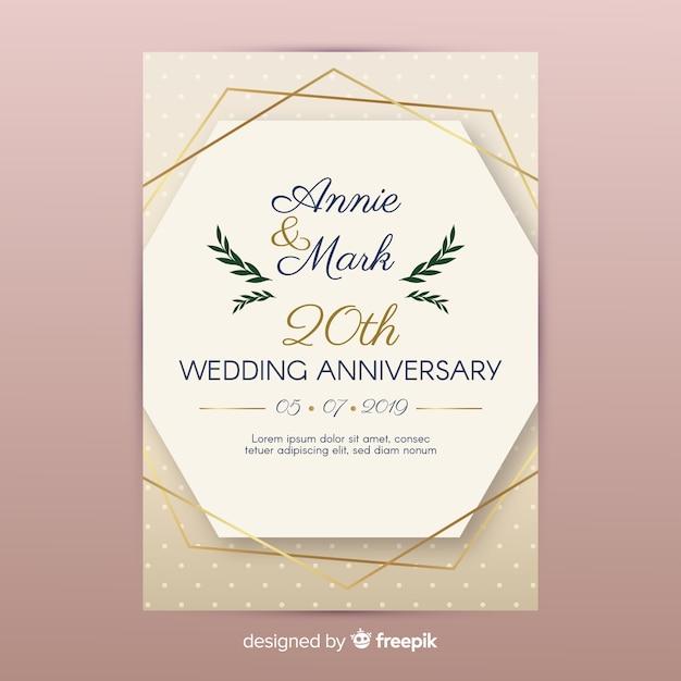 ゴールデンラインの結婚式の招待状 無料ベクター