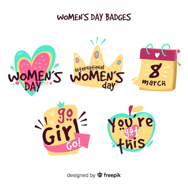女性の日バッジコレクション 無料ベクター