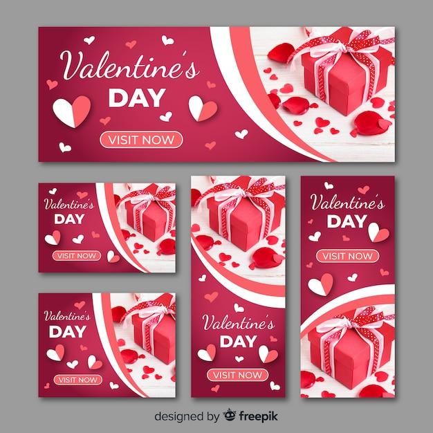 День святого валентина веб-баннеры с фото Бесплатные векторы
