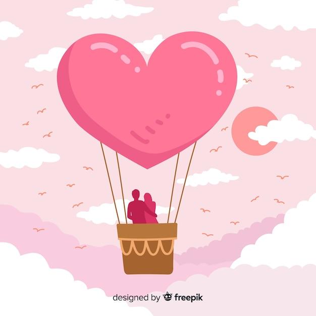 Сердце воздушный шар фон Бесплатные векторы