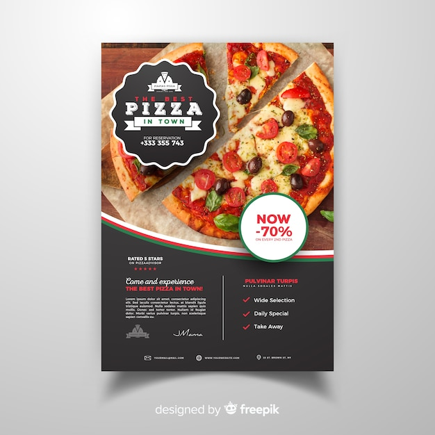 Флаер фотографического пиццерия Бесплатные векторы