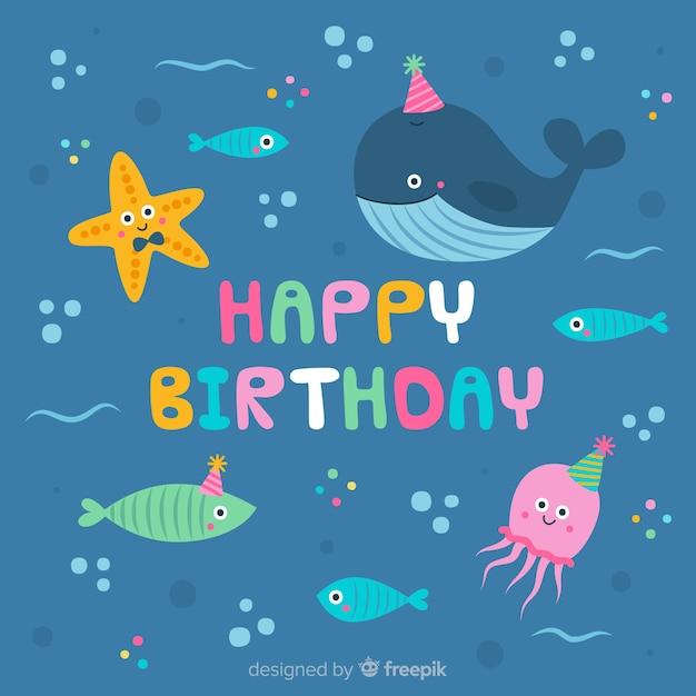 海の誕生日の背景の下で 無料ベクター
