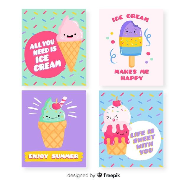 Набор карт с милым мороженым Бесплатные векторы