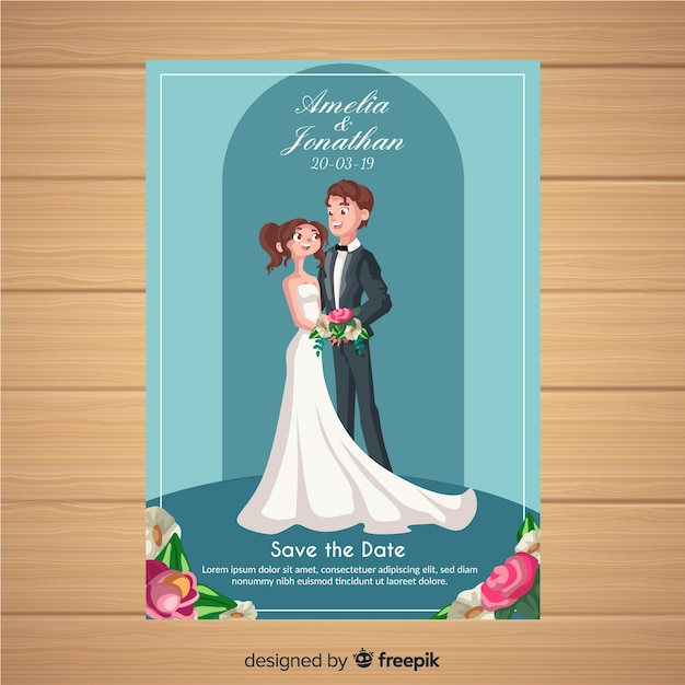 結婚式の招待状のテンプレート 無料ベクター