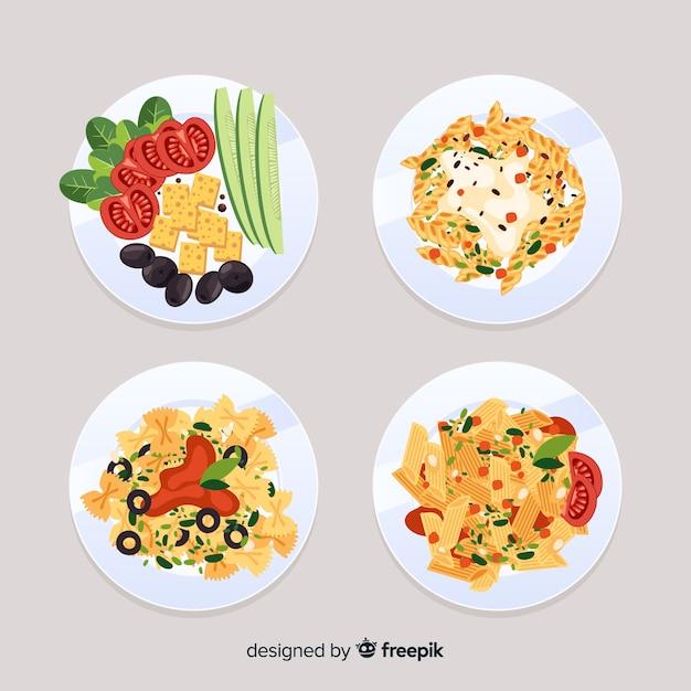 イタリア料理セット 無料ベクター