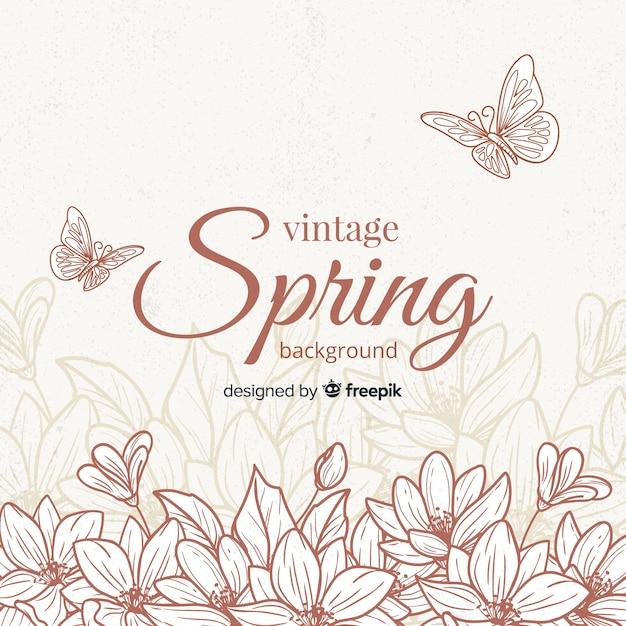 Старинные цветы весенний фон Бесплатные векторы