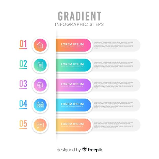 グラデーションインフォグラフィックステップ 無料ベクター