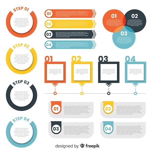 Плоские инфографики элементы Бесплатные векторы