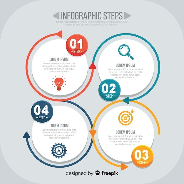 Плоские инфографические шаги Бесплатные векторы