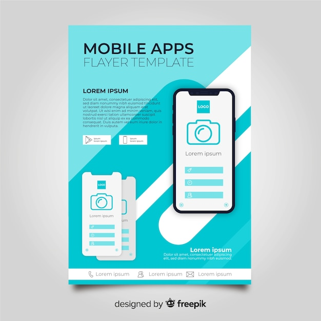 モバイルアプリのチラシテンプレート 無料ベクター