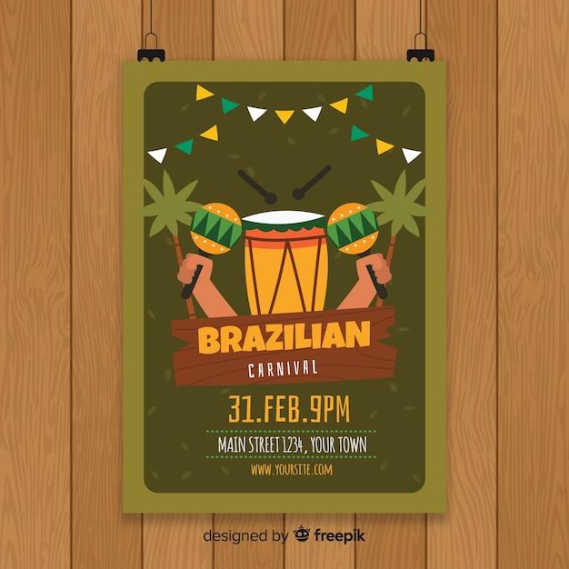 Шаблон флаера для бразильского карнавала Бесплатные векторы