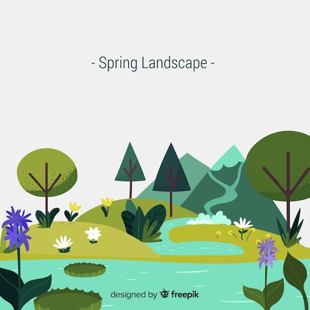 春の風景 無料ベクター