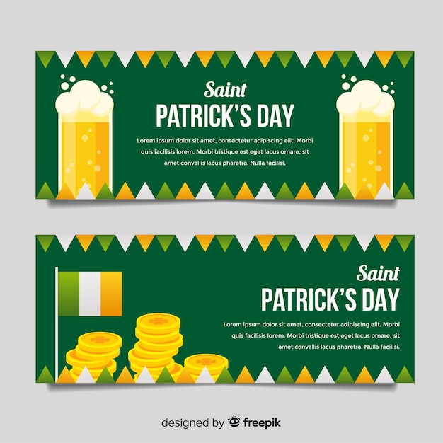 ビールとお金の聖パトリックのバナー 無料ベクター