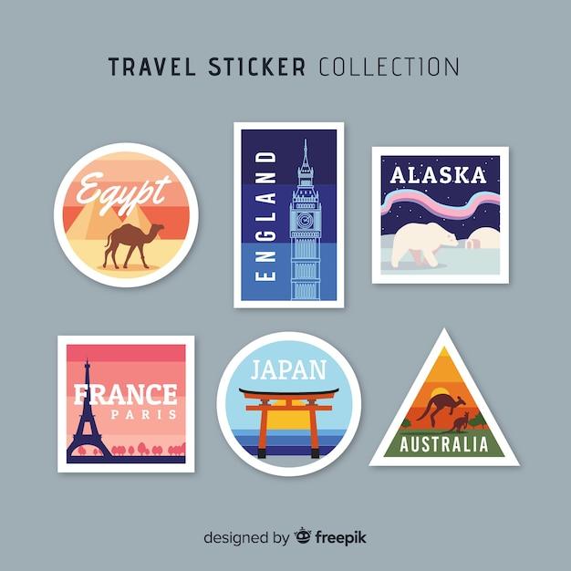 Коллекция стикеров для путешествий по городам Бесплатные векторы