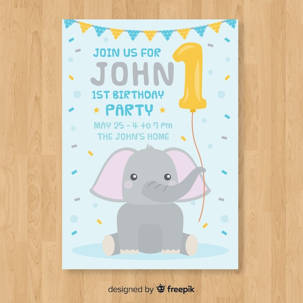 Первая открытка на день рождения Бесплатные векторы