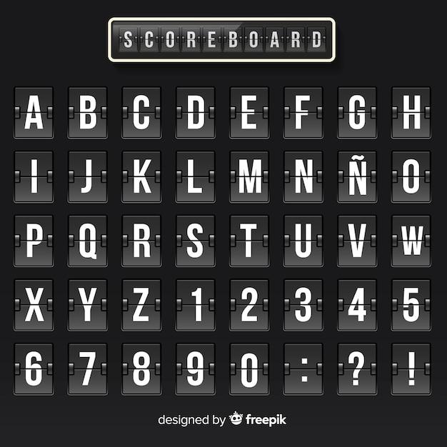 リアルなスコアボードのアルファベット 無料ベクター