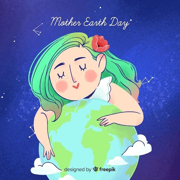 水彩母地球日の背景 無料ベクター