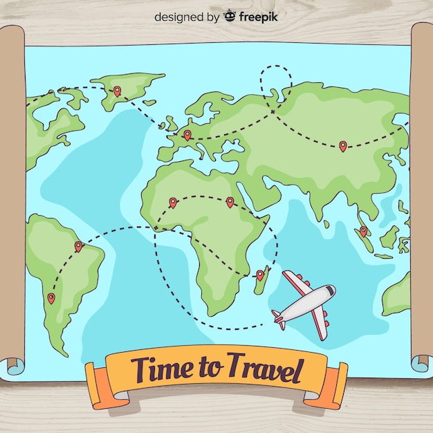 手描きの旅行の背景 無料ベクター
