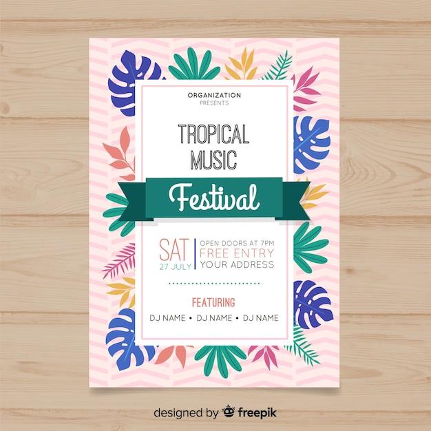 Афиша фестиваля тропической музыки Бесплатные векторы