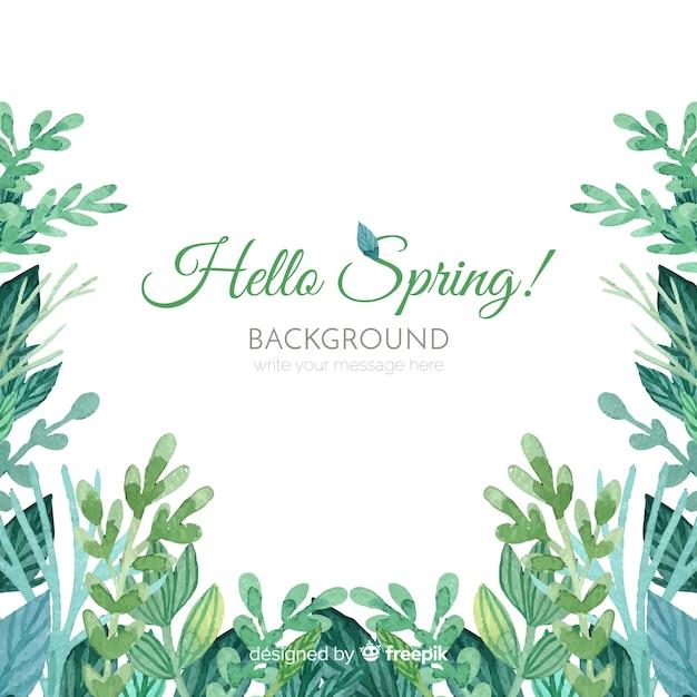 水彩画の葉春の背景 無料ベクター