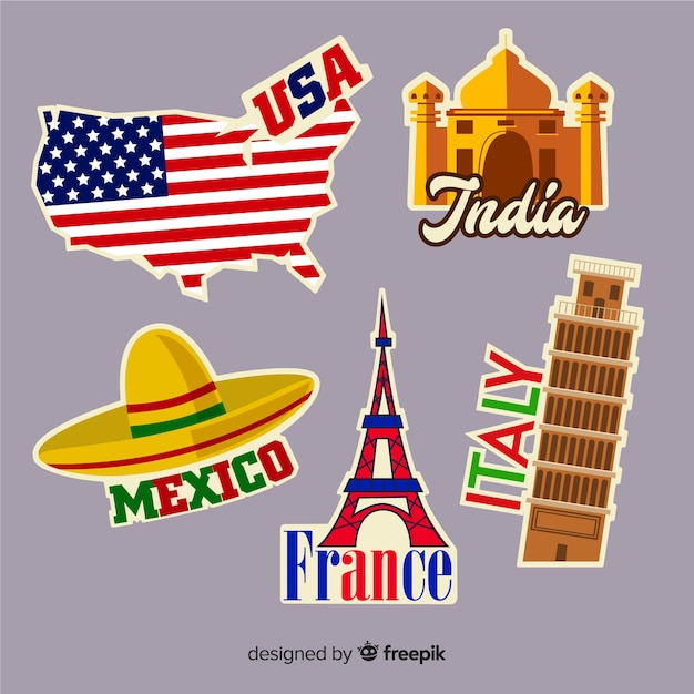 Коллекция стикеров путешествий стран Бесплатные векторы