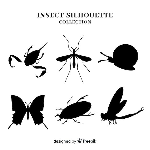 昆虫シルエットコレクション 無料ベクター