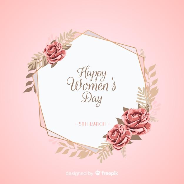 女性の花の日の背景 無料ベクター