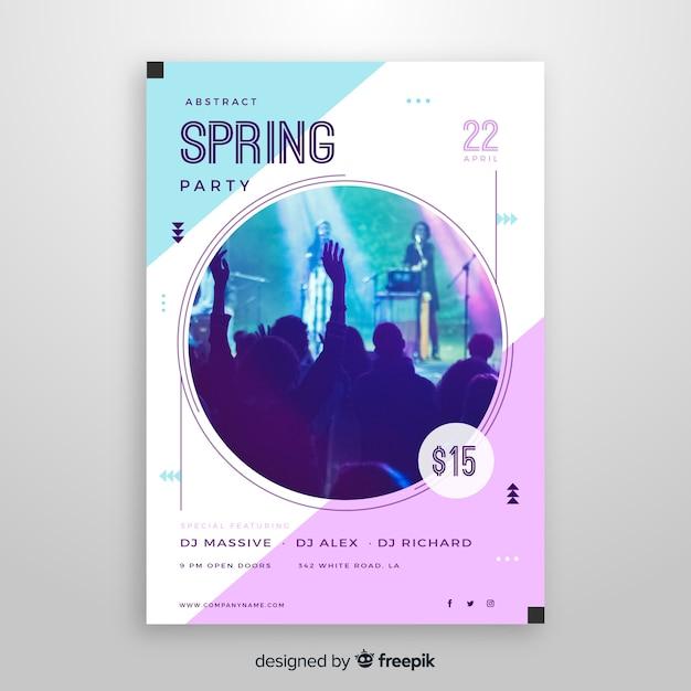 春のパーティーパンフレット 無料ベクター