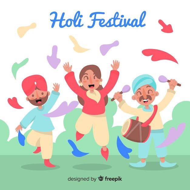 ホーリー祭を祝う幸せな人々 無料ベクター