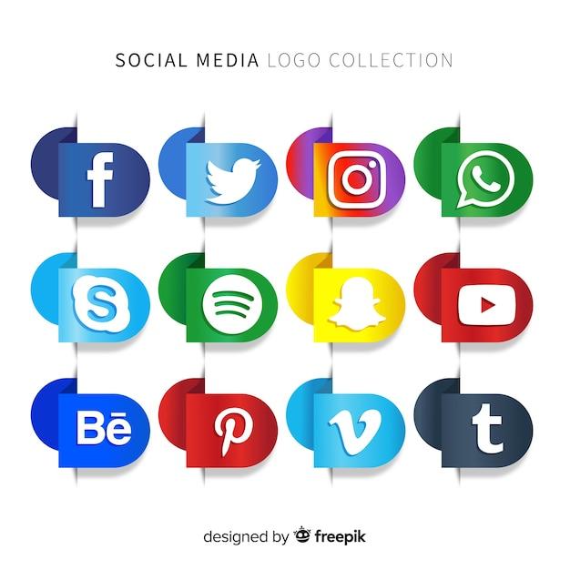 グラデーションソーシャルメディアロゴパック 無料ベクター