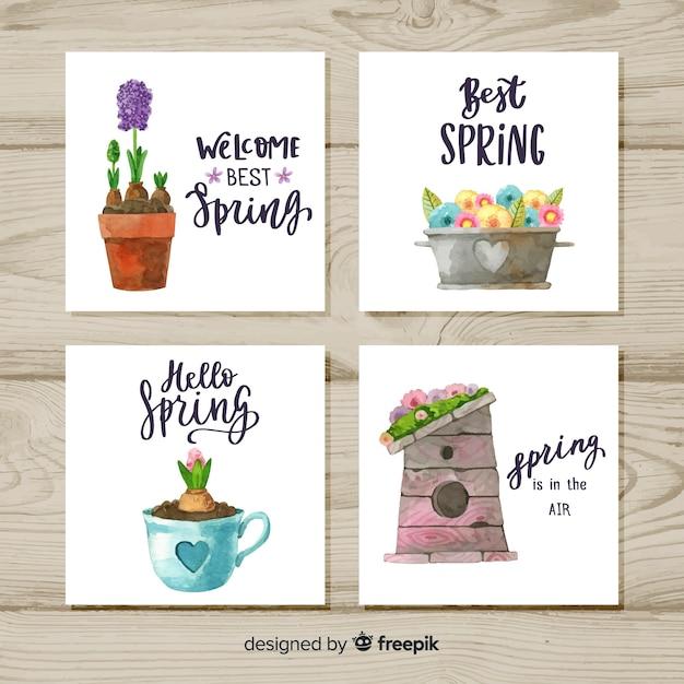 春のカードコレクション 無料ベクター