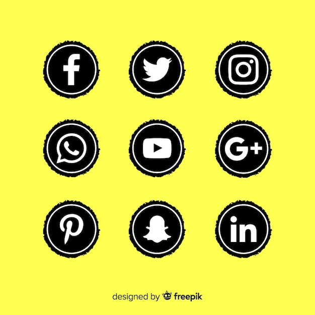 Черный набор логотипов для социальных сетей Бесплатные векторы