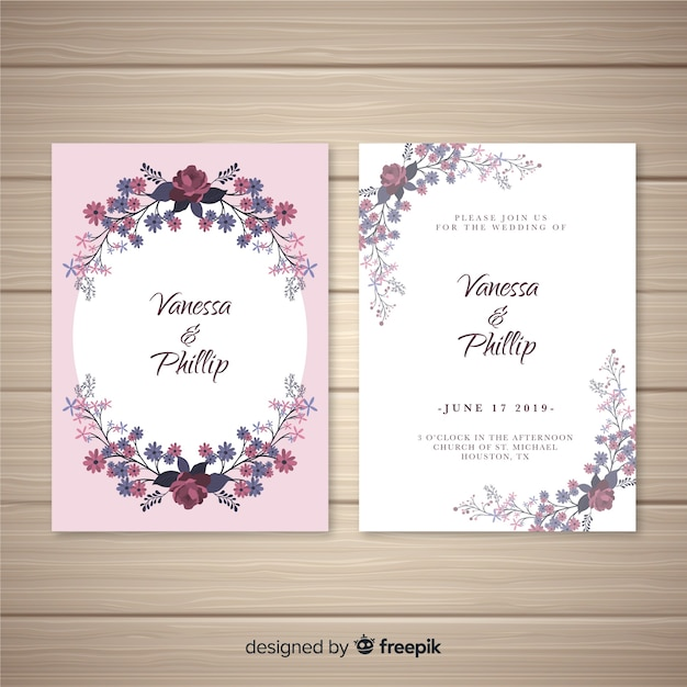 オーバルフレームの結婚式の招待状のテンプレート 無料ベクター