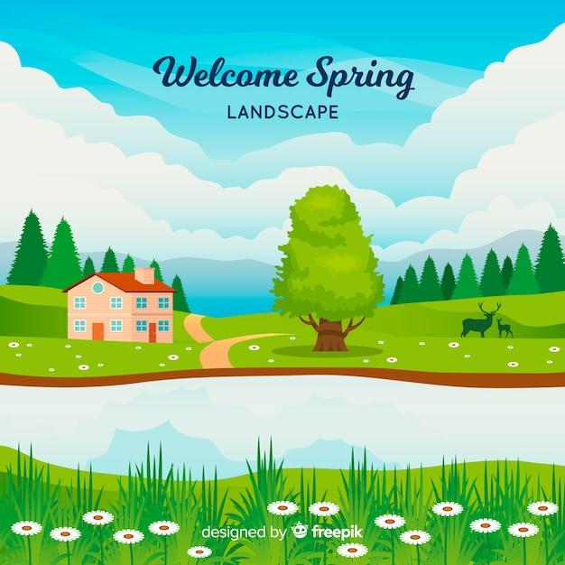 ようこそ春の風景 無料ベクター