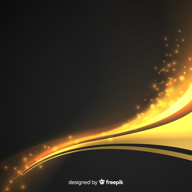 黄金の抽象的な波状の背景 無料ベクター