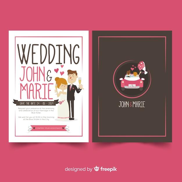 手描きカップル結婚式招待状のテンプレート 無料ベクター