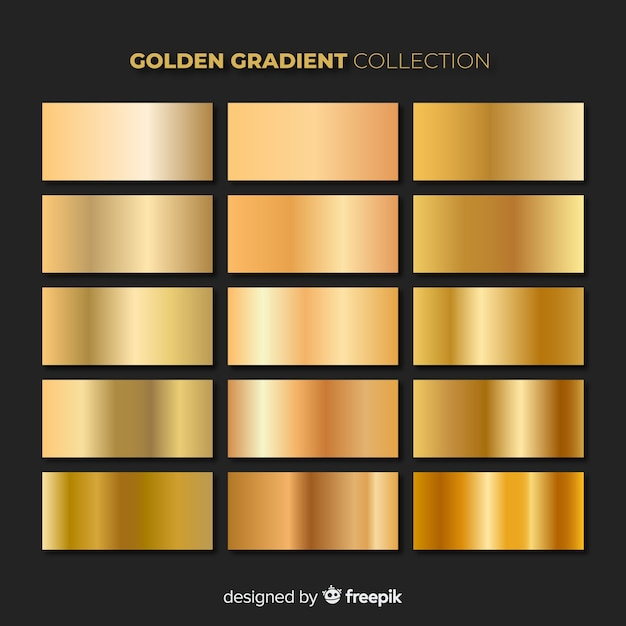 Блестящий золотой пакет градиента Бесплатные векторы