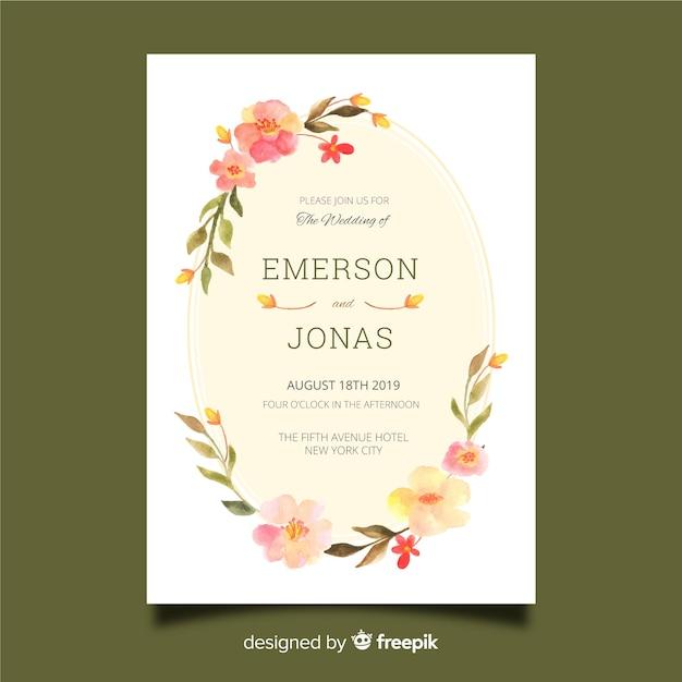 水彩花のフレームの結婚式の招待状のテンプレート 無料ベクター