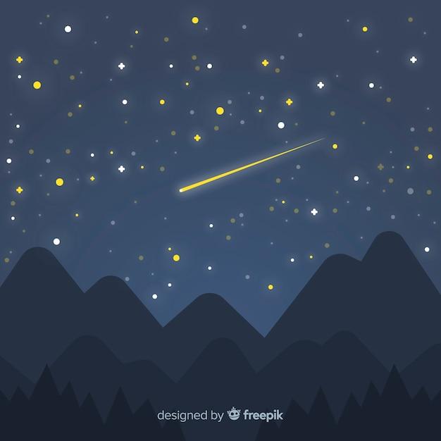 星空の夜空の背景 無料ベクター