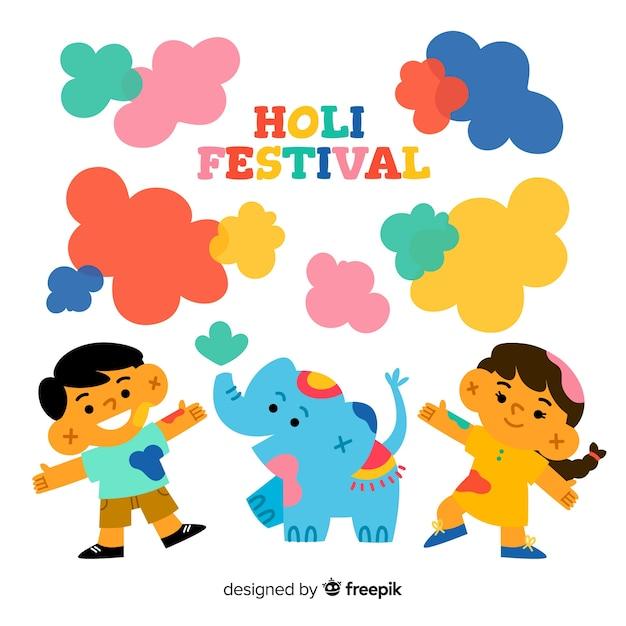 ホーリー祭を祝う幸せな子供たち 無料ベクター
