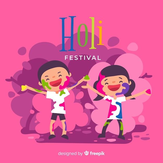 手描き子供ホーリー祭の背景 無料ベクター