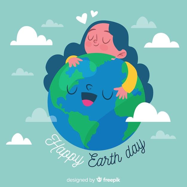 手描きの母なる地球日の背景 無料ベクター